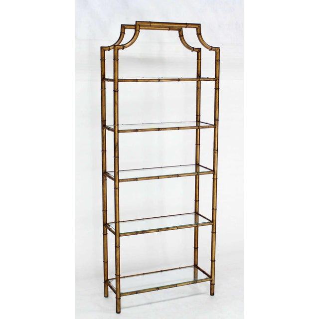 Brown Mid-Century Modern Five-Tier Faux Bamboo Etagere Shelving Unit For Sale - Image 8 of 10