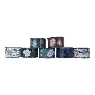 Vintage Cloisonné Napkin Rings- 7 Pieces For Sale