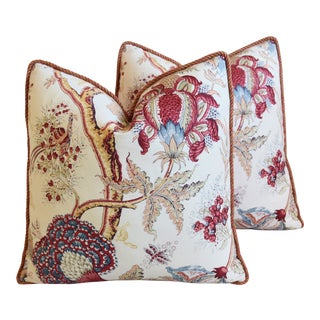 "Designer Bennison Dragon Flower Floral Linen Feather/Down Pillows 22"" Square - Pair For Sale"