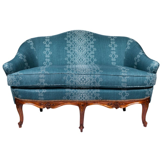 1940s Settee With Three Queen Anne Style Front Legs and Carvings For Sale - Image 9 of 9