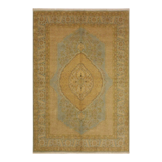 Semi Antique Istanbul George Lt. Blue/Gold Turkish Hand-Knotted Rug -5'8 X 7'4 For Sale