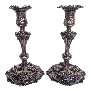 1940s Tiffany & Co. Makers Rococo Silver Soldered Candlesticks - a Pair For Sale