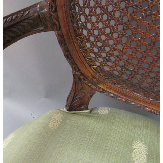 Vintage Fairfield Louis XVI Style French Upholstered Cane Back Bergere Chair For Sale In Raleigh - Image 6 of 11