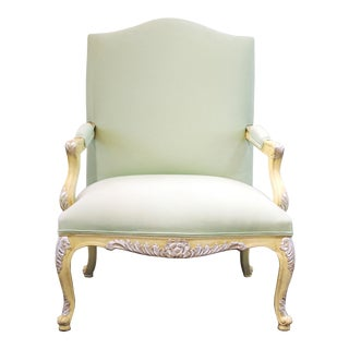 French Classical Style Armchair In Mint Green Upholstery For Sale