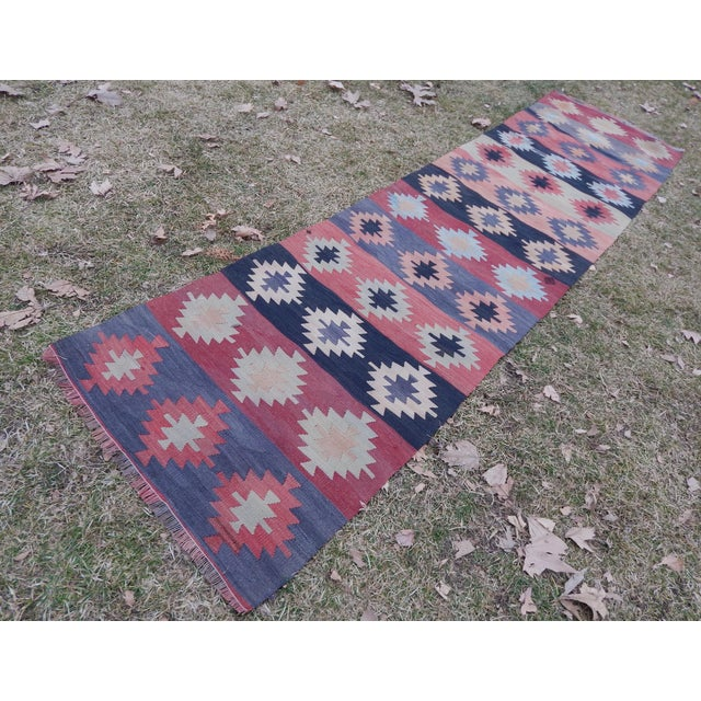 "Vintage Turkish Kilim Rug 30.31"" X 111.81"" / 77x284cm Hand woven with high quality pure wool Excellent condition From..."