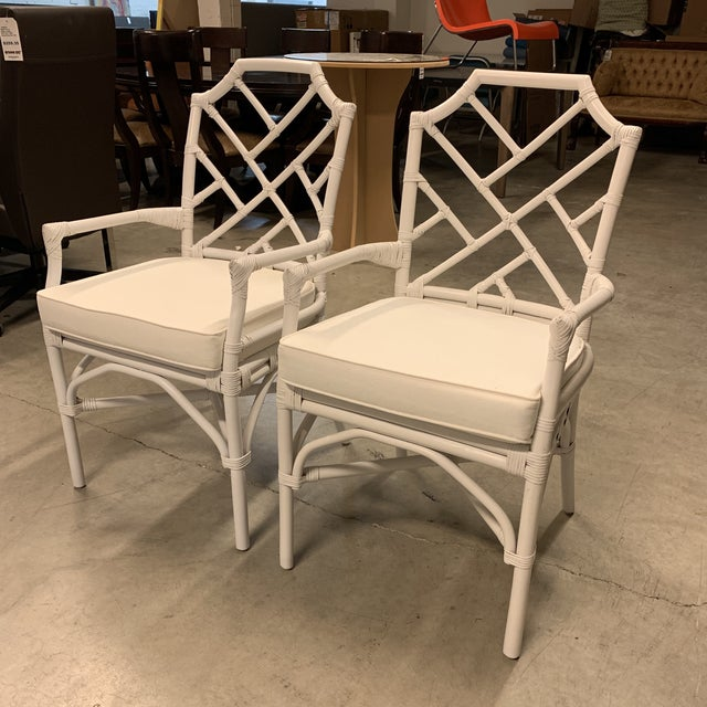 Asian New New Pacific Direct Kara Rattan White Arm Chairs For Sale - Image 3 of 12