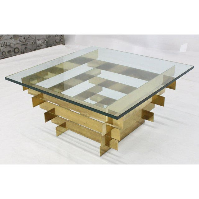 1970s Mid-Century Modern Bronze Base Glass Top Square Coffee Table For Sale - Image 11 of 12