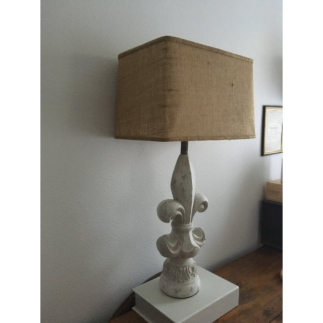 Flue De Lis Style Lamp with Rectangle Burlap Shade For Sale - Image 4 of 5