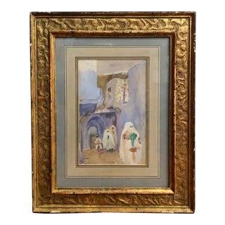 Early 20th Century Far East Scene Gouache Painting, Framed For Sale