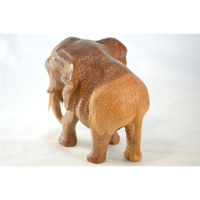 Hand Carved Wood Elephant For Sale In Chicago - Image 6 of 9