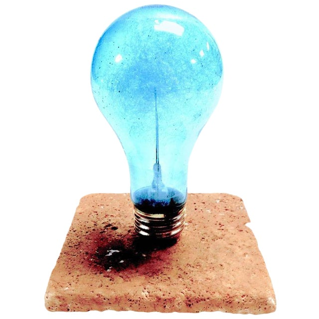 Archaic & Rare GE Photoflash Bulb With Daylight Color. Display As Sculpture. Circa 1940's. Mounted On Stone. For Sale