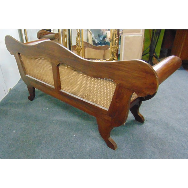 Anglo Indian Carved Mahogany & Cane Sofa For Sale - Image 4 of 7