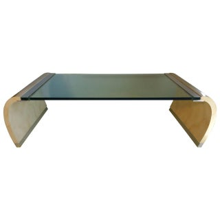 Drexel Lacquer & Glass Waterfall Coffee Table For Sale