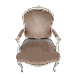 Pair French Velvet Bergeres French Provencal Farmhouse Taupe Armchairs Shabby French Distressed Velvet Fauteuils Preview