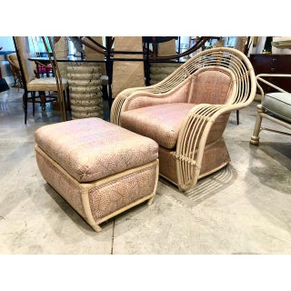 1980s Vintage Palm Beach Regency Rattan and Reed Lounge Chair & Ottoman Preview