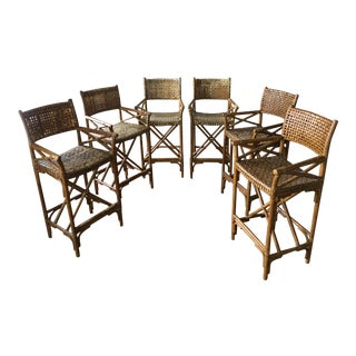 McGuire Laced Rawhide Stools - Set of 6