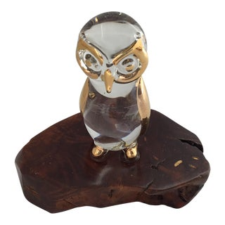 22k Gold Embossed Glass Owl on Wood