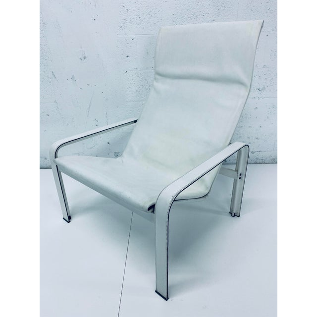 "White Matteo Grassi Leather ""Sistina"" Lounge Chair and Foot Stool, Vintage 1980s For Sale - Image 8 of 13"