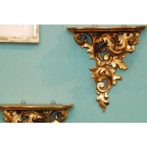 20th Century French Carved Gilded Wall Shelves - a Pair For Sale - Image 4 of 6