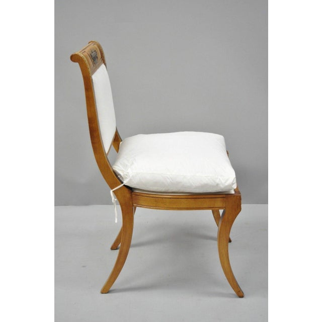 Fabric Regency Neoclassical Style Saber Klismos Leg Accent Side Desk Chair For Sale - Image 7 of 13