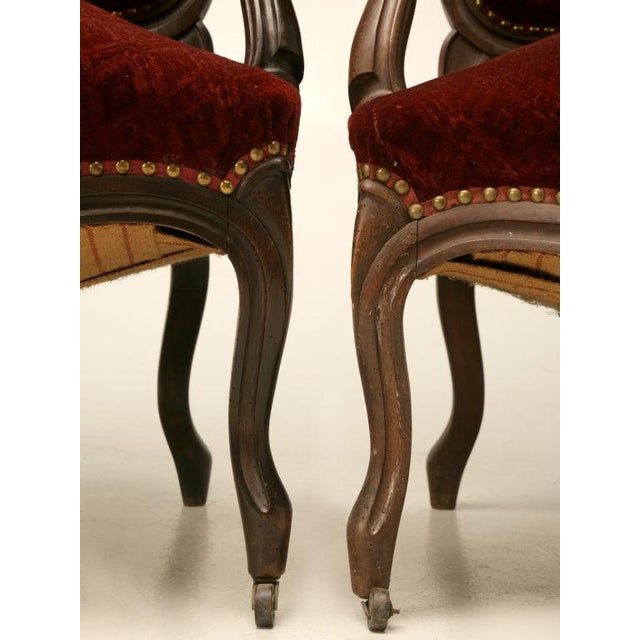 Exquisite Pair of Heavily Carved Antique French Louis XV Walnut Fauteuils - Image 6 of 10