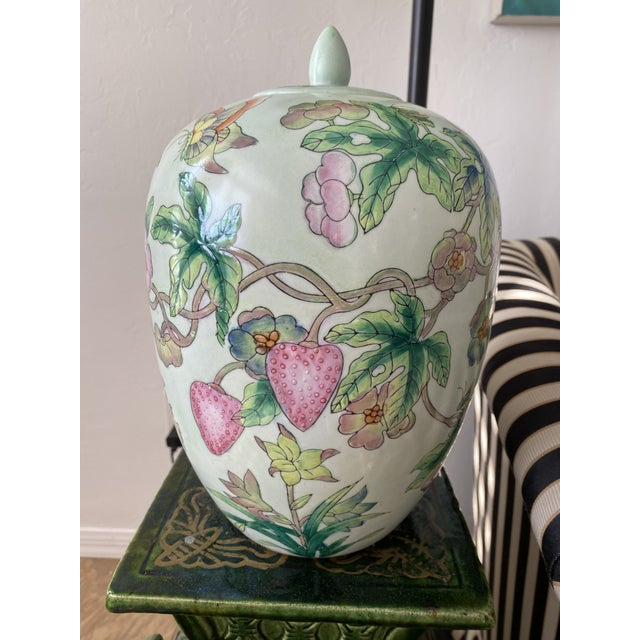 Lided Chinoiserie Strawberry and Butterfly Ginger Jar For Sale - Image 13 of 13
