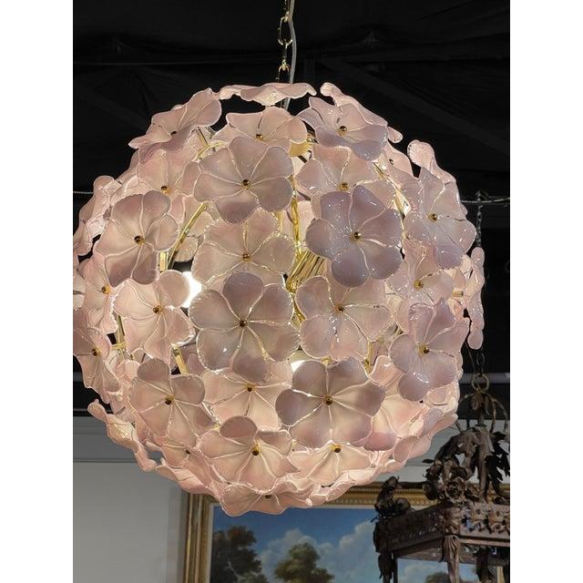 Modern Modern Murano Pink Flower Globe Chandeliers For Sale - Image 3 of 7