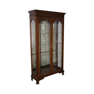 Jasper Traditional Oak Lighted Display Curio Cabinet For Sale