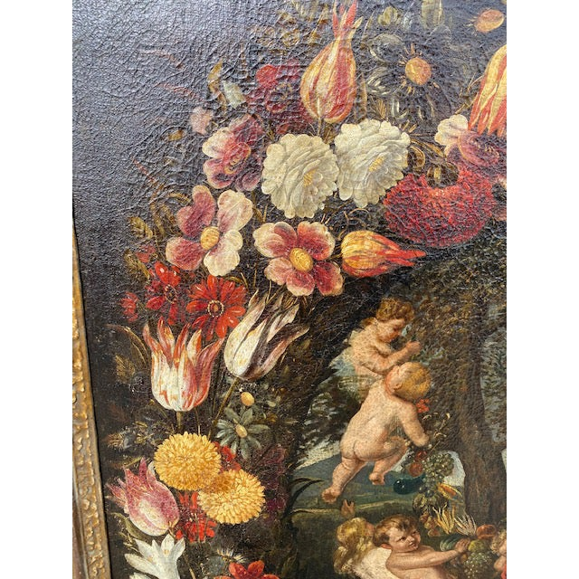 Traditional 17th C. Italian Flemish Cherub Painting With Floral Wreath Motif For Sale - Image 3 of 9