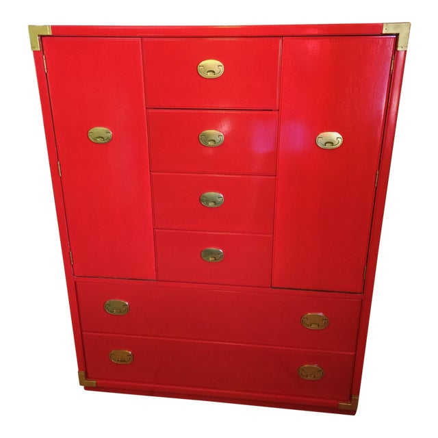 Thomasville Campaign Style Red Lacquered Armoire - Image 1 of 10