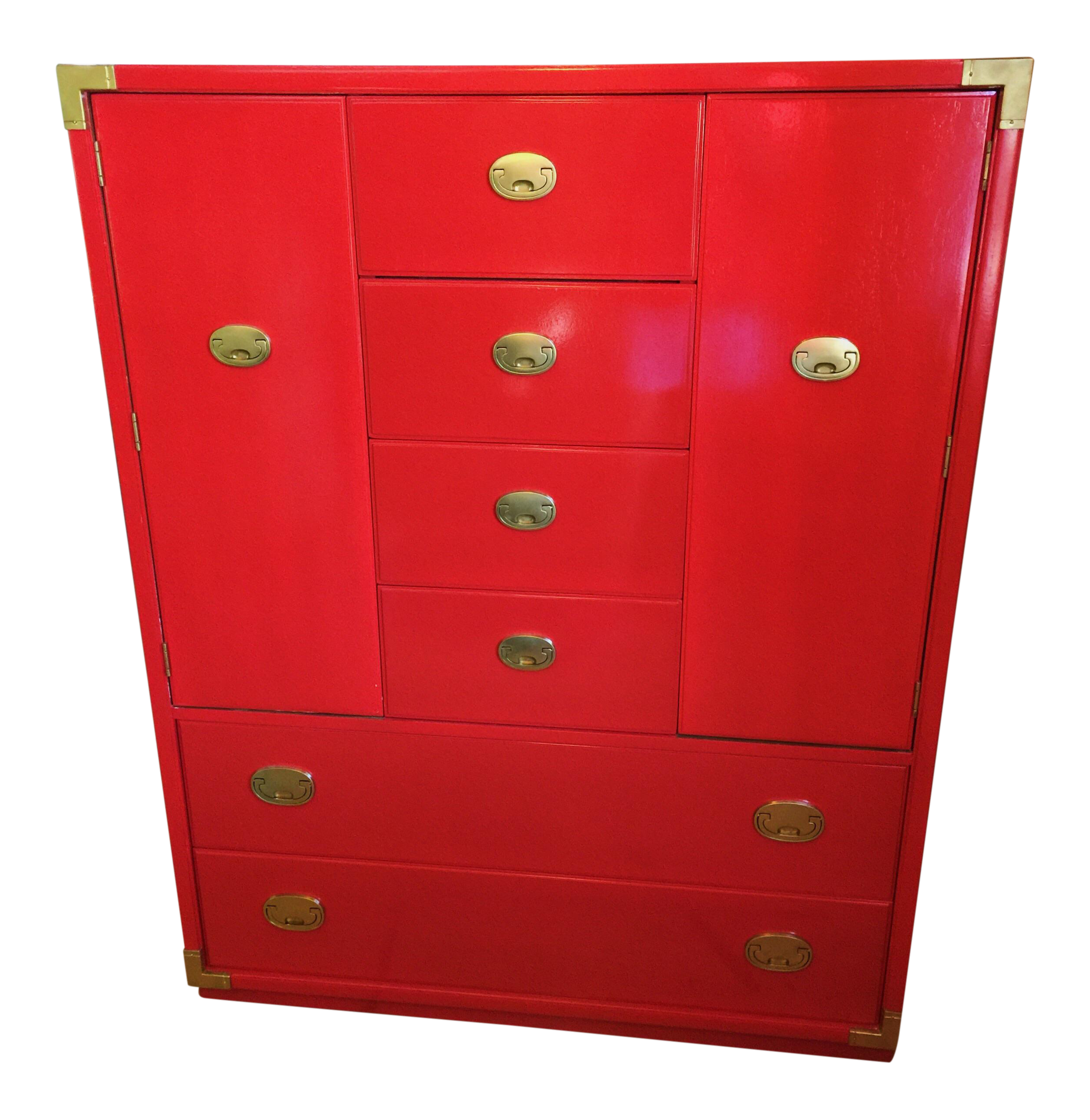 Thomasville Campaign Style Red Lacquered Armoire   Image 1 Of 10