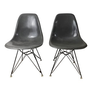 1950s Mid Century Herman Miller for Charles Eames Grey Shell Eiffel Base Chairs - a Pair