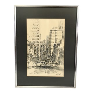 1970s Vintage Alec Stern San Francisco Trolley / California Street Print For Sale