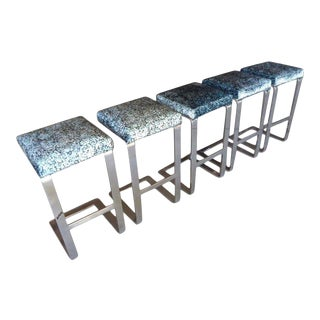Set of Five Chrome-Plated Flat Bar Steel Barstools, Pace Collection, Circa 1970s For Sale