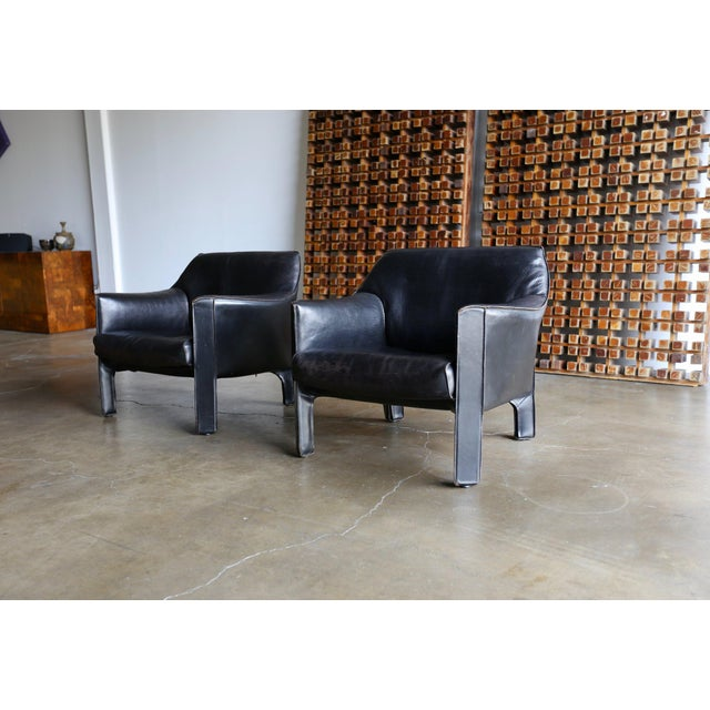 Mid-Century Modern Mario Bellini Black Leather Lounge Chairs - a Pair For Sale - Image 10 of 11