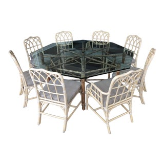 McGuire Bamboo & Rattan Dining Set For Sale