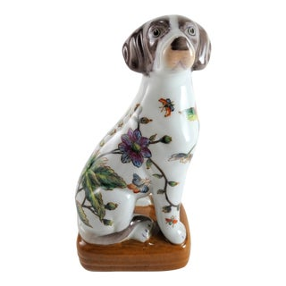 1980s Chinoserie Porcelain Dog Statue