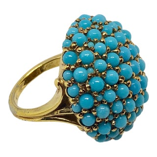 Ciner Turquoise Seed Bead Ring For Sale