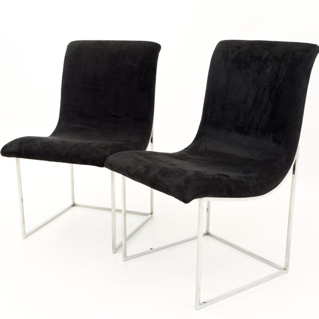Mid-Century Modern Milo Baughman for Directional Mid Century Black Velvet Chrome Base Lounge Chairs - a Pair For Sale - Image 3 of 11