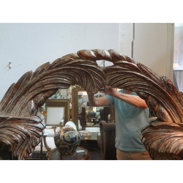 Dorothy Draper Vintage Serge Roche Inspired Carved Wood Silver Gilt Palm Frond Mirror For Sale - Image 4 of 12
