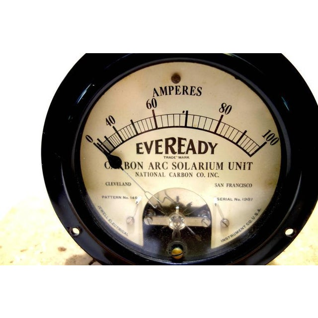Art Deco Vintage Ampere Meter Early 20th Rare Arc Solarium Unit. Display As Sculpture For Sale - Image 3 of 3