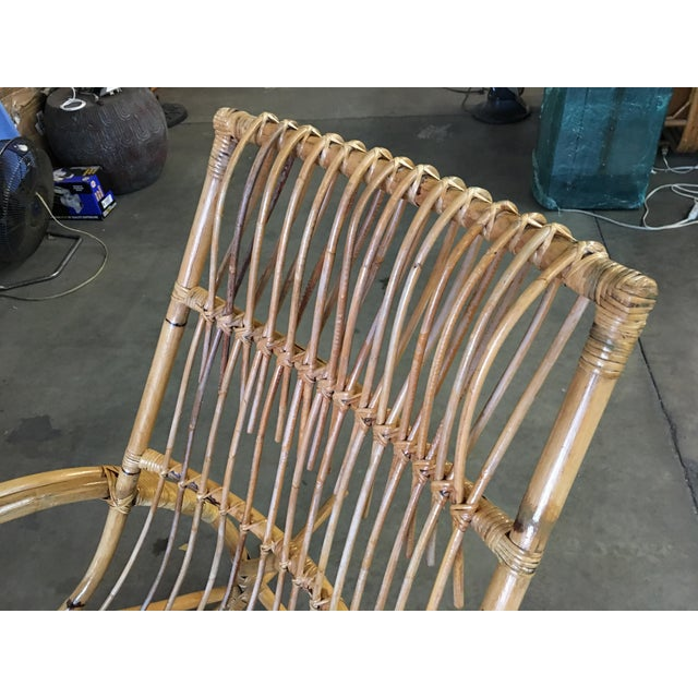 Restored Oversized Stick Rattan Rocking Chair in the Style of Franco Albini For Sale - Image 11 of 12
