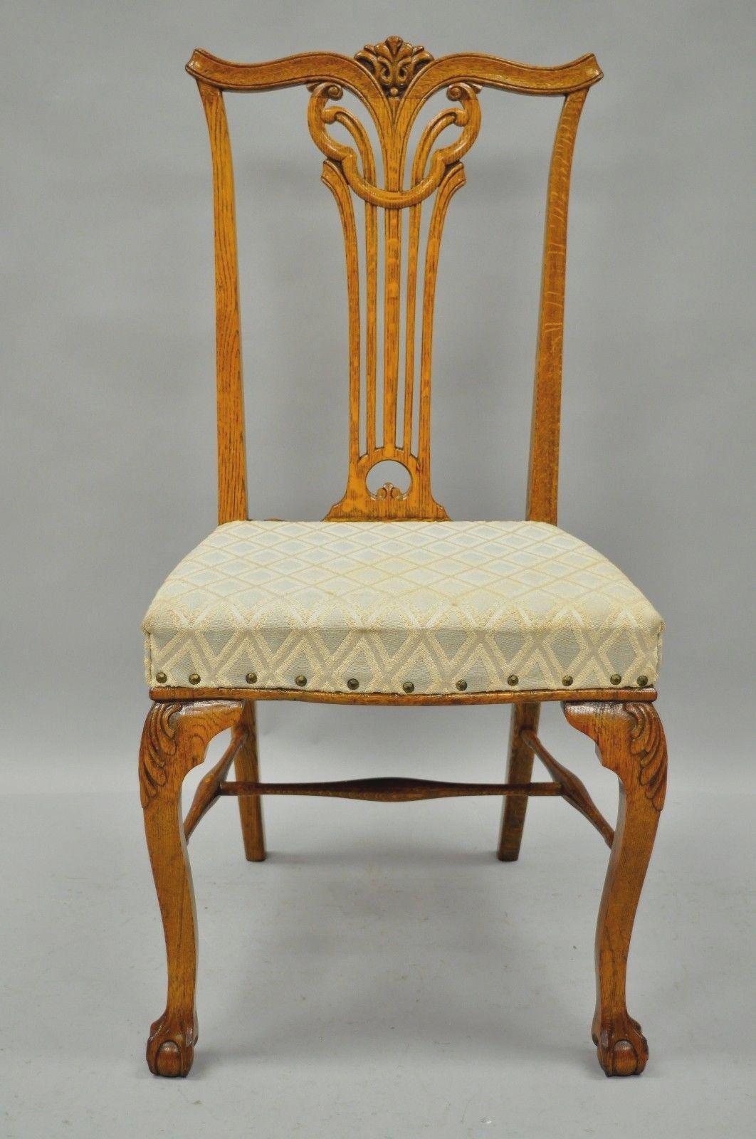 Ordinaire Item: Antique Golden Oak Victorian Chippendale Style Dining Side Chair  Details: Solid Oak Wood