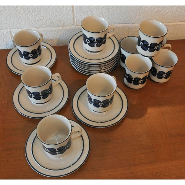 Mid-Century Design Four Cobalt Mugs & Saucers - 10 - Image 6 of 9