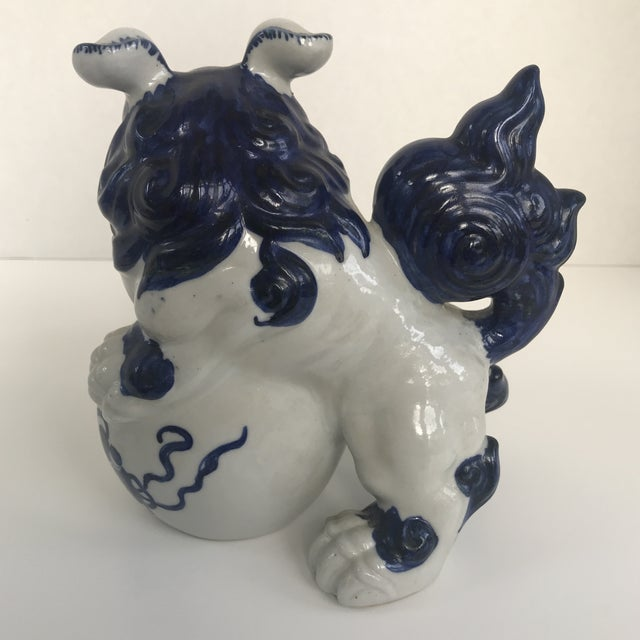 Late 20th Century Vintage Chinese Blue and White Foo Dog For Sale - Image 5 of 8