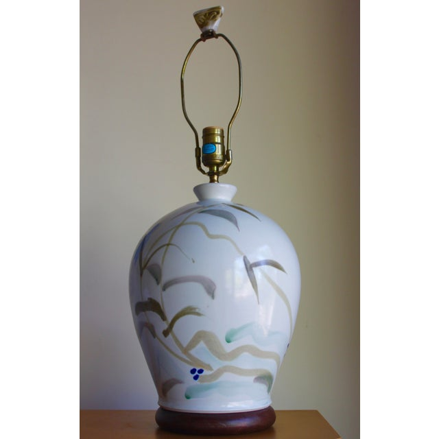 Vintage Hand Painted Japanese Style Glenn Burris Studio Handmade Pottery Lamp For Sale - Image 10 of 10