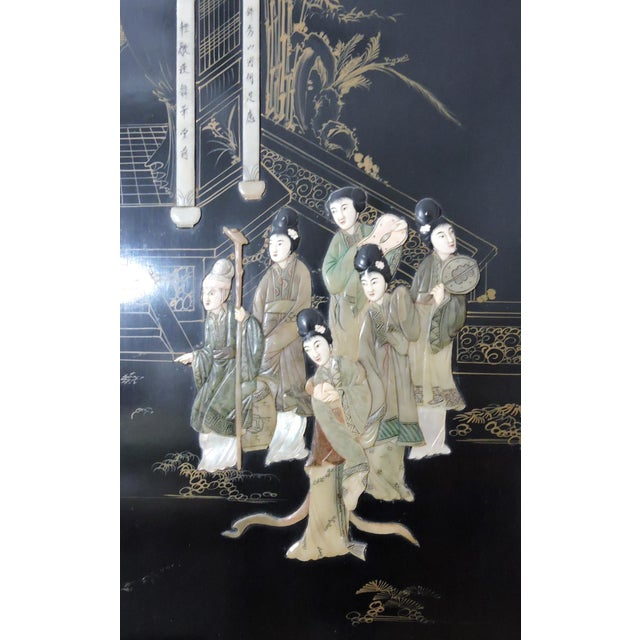 Antique Chinese Black Lacquer & Jade Screen / Room Divider, Garden Pavilion & Noble Ladies For Sale - Image 4 of 11