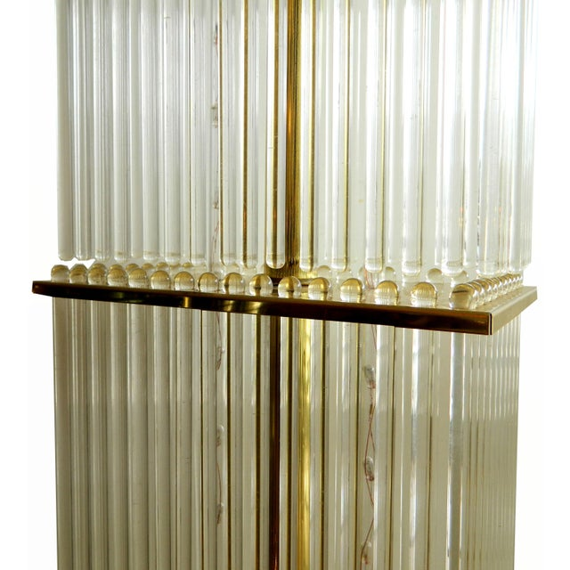 Vintage Glass Rods Brass Floor Lamp For Sale - Image 5 of 7