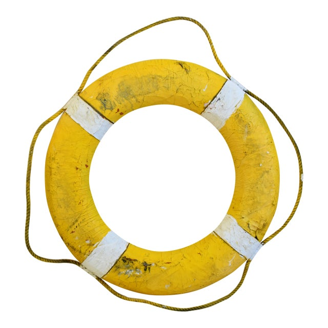 1950s Nautical New England Yellow Life Preserver For Sale