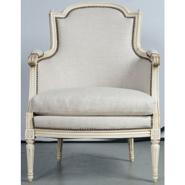 Louis XVI French Louis XVI Style Bergeres - a Pair For Sale - Image 3 of 10